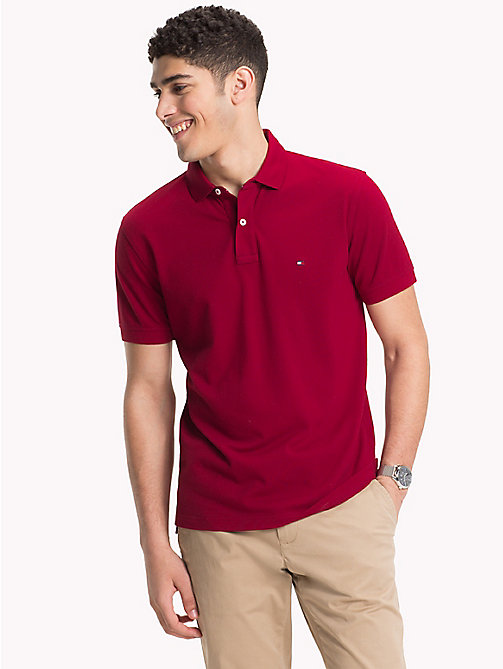TOMMY HILFIGER Pure Cotton Pique Polo Shirt - RHUBARB - TOMMY HILFIGER NEW IN - main image
