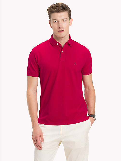 TOMMY HILFIGER Pure Cotton Pique Polo Shirt - PERSIAN RED - TOMMY HILFIGER Clothing - main image