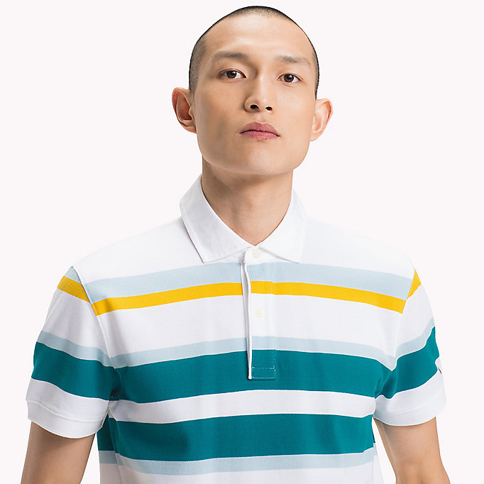 TOMMY HILFIGER Stripe Regular Fit Polo Shirt - PINK LEMONADE / MULTI - TOMMY HILFIGER Men - detail image 2