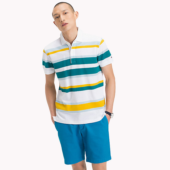 TOMMY HILFIGER Stripe Regular Fit Polo Shirt - PINK LEMONADE / MULTI - TOMMY HILFIGER Men - main image