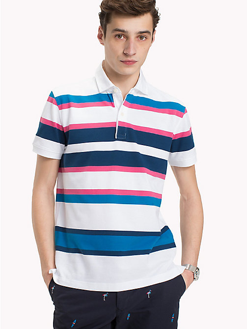TOMMY HILFIGER Stripe Regular Fit Polo Shirt - PINK LEMONADE / MULTI - TOMMY HILFIGER Polo Shirts - main image
