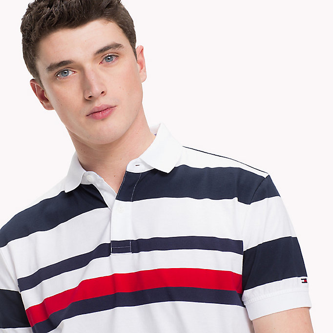 TOMMY HILFIGER All Over Stripe Print Polo - CLOUD HTR / BRIGHT WHITE - TOMMY HILFIGER Men - detail image 2