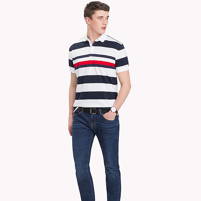 TOMMY HILFIGER All Over Stripe Print Polo - CLOUD HTR / BRIGHT WHITE - TOMMY HILFIGER Men - main image