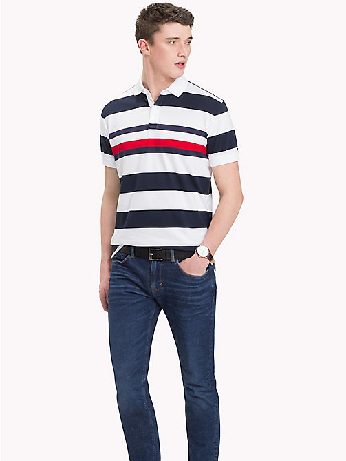 TOMMY HILFIGER All Over Stripe Print Polo - SKY CAPTAIN / BRIGHT WHITE - TOMMY HILFIGER Polo Shirts - main image