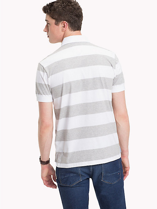 TOMMY HILFIGER All Over Stripe Print Polo - CLOUD HTR / BRIGHT WHITE -  Polo Shirts - detail image 1