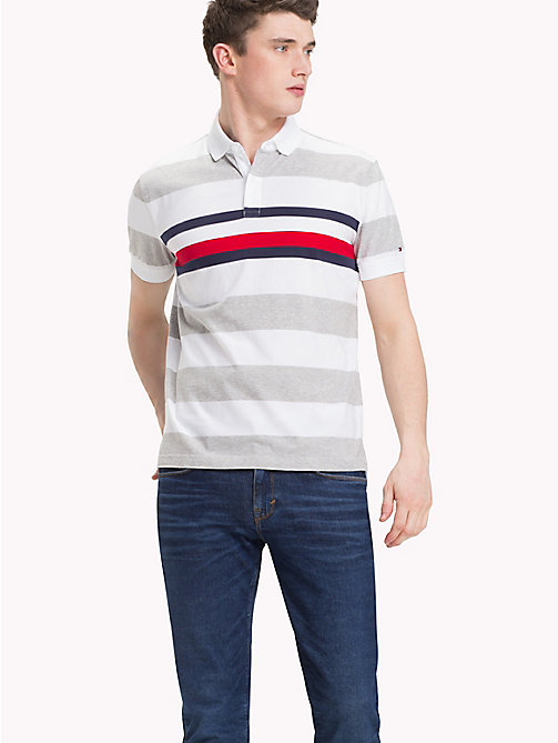TOMMY HILFIGER All Over Stripe Print Polo - CLOUD HTR / BRIGHT WHITE -  Polo Shirts - main image