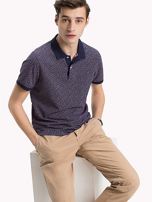 TOMMY HILFIGER All Over Floral Print Polo - MARITIME BLUE - TOMMY HILFIGER Polo Shirts - main image