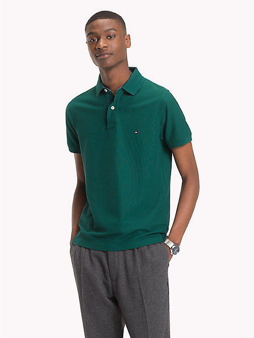 TOMMY HILFIGER Slim Fit Cotton Polo - RAIN FOREST - TOMMY HILFIGER Polo Shirts - main image