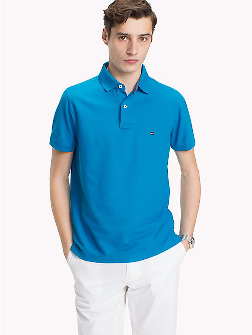 TOMMY HILFIGER Slim Fit Polo Shirt - HAWAIIAN SURF - TOMMY HILFIGER Polo Shirts - main image
