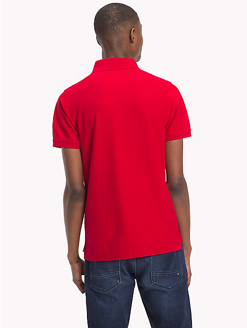 TOMMY HILFIGER Slim Fit Cotton Polo - HAUTE RED - TOMMY HILFIGER Polo Shirts - detail image 1
