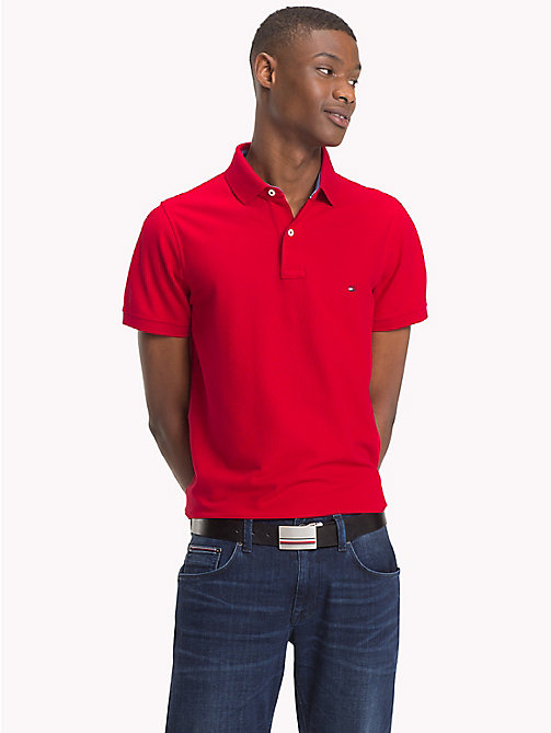 TOMMY HILFIGER Slim Fit Cotton Polo - HAUTE RED - TOMMY HILFIGER Polo Shirts - main image