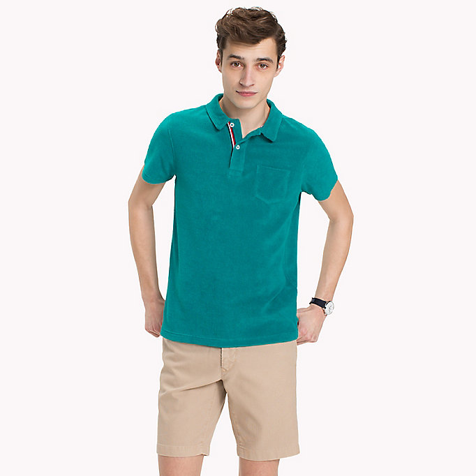 TOMMY HILFIGER Towelling Slim Fit Polo Shirt - BONNIE BLUE - TOMMY HILFIGER Men - main image
