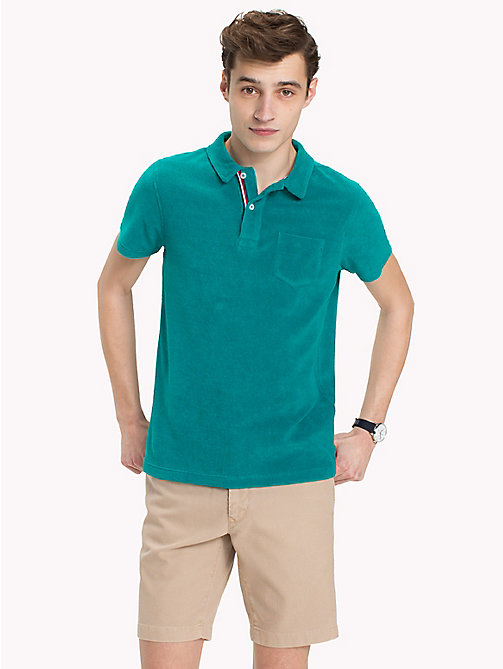 TOMMY HILFIGER Towelling Slim Fit Polo Shirt - FANFARE - TOMMY HILFIGER Vacation Style - main image