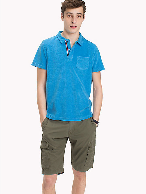 TOMMY HILFIGER Towelling Slim Fit Polo Shirt - BONNIE BLUE - TOMMY HILFIGER Vacation Style - main image