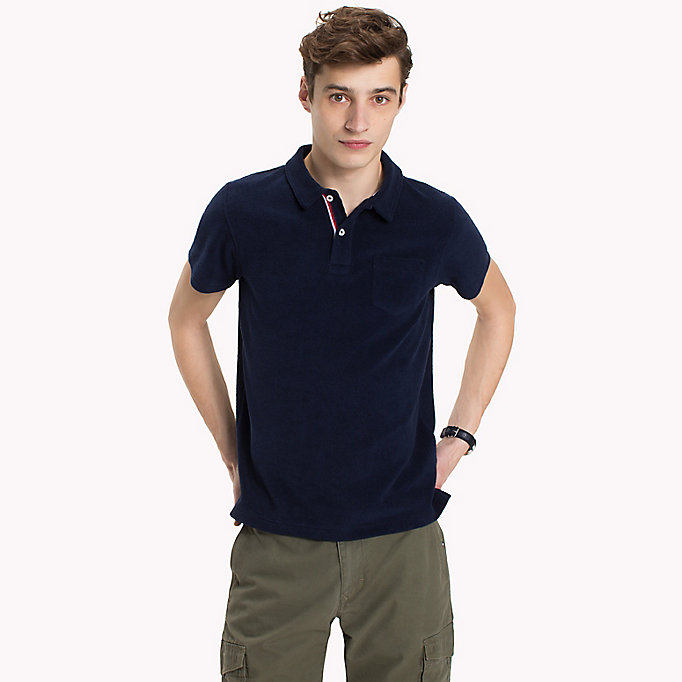 TOMMY HILFIGER Towelling Slim Fit Polo Shirt - FANFARE - TOMMY HILFIGER Men - main image
