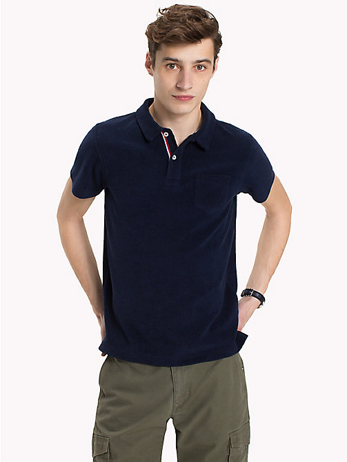 TOMMY HILFIGER Towelling Slim Fit Polo Shirt - MARITIME BLUE - TOMMY HILFIGER Polo Shirts - main image
