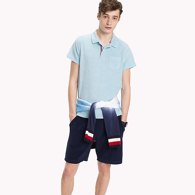TOMMY HILFIGER Towelling Slim Fit Polo Shirt - MARITIME BLUE - TOMMY HILFIGER Men - main image