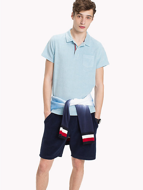TOMMY HILFIGER Towelling Slim Fit Polo Shirt - COOL BLUE - TOMMY HILFIGER Polo Shirts - main image
