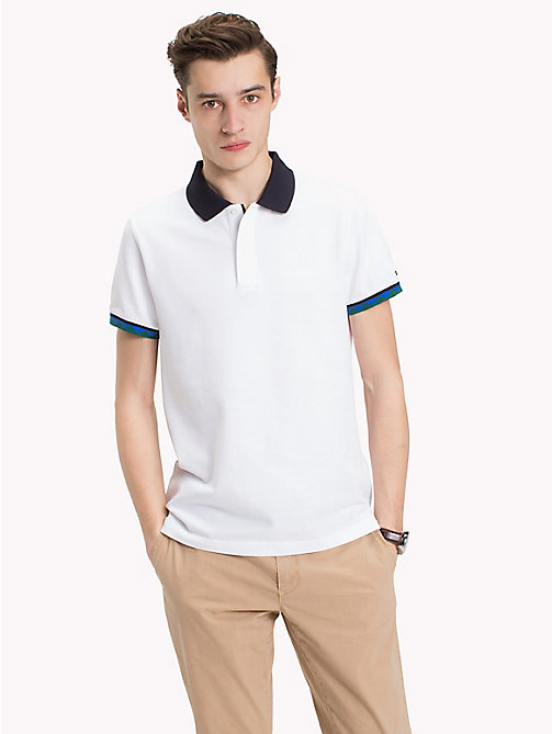 TOMMY HILFIGER Aztec Tipping Polo Shirt - BRIGHT WHITE - TOMMY HILFIGER NEW IN - main image
