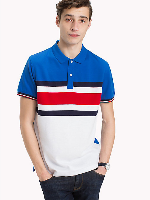 TOMMY HILFIGER Chest Stripe Print Polo - STRONG BLUE - TOMMY HILFIGER Vacation Style - main image