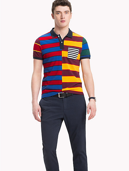 TOMMY HILFIGER All Over Stripe Print Polo - STRONG BLUE / MULTI - TOMMY HILFIGER Polo Shirts - main image