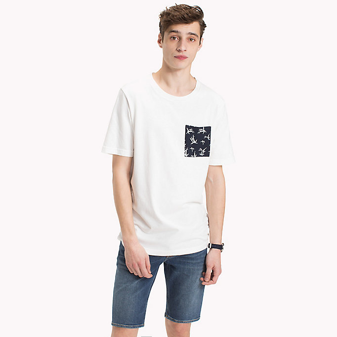 TOMMY HILFIGER Bamboo Print Pocket T-Shirt - CLOUD HTR - TOMMY HILFIGER Men - main image
