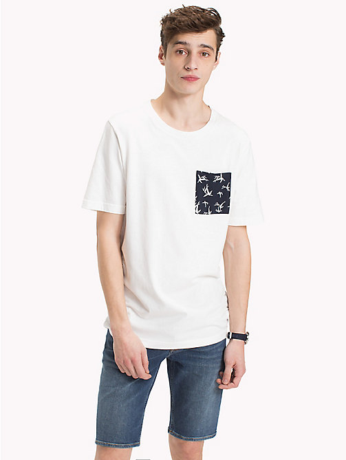 TOMMY HILFIGER Bamboo Print Pocket T-Shirt - SNOW WHITE - TOMMY HILFIGER Vacation Style - main image