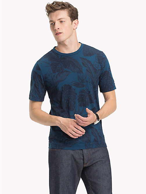 TOMMY HILFIGER Tropical Leaf Print T-Shirt - BLUE OPAL - TOMMY HILFIGER T-Shirts - main image