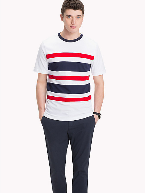 TOMMY HILFIGER Panel Stripe Tee - BRIGHT WHITE - TOMMY HILFIGER NEW IN - main image