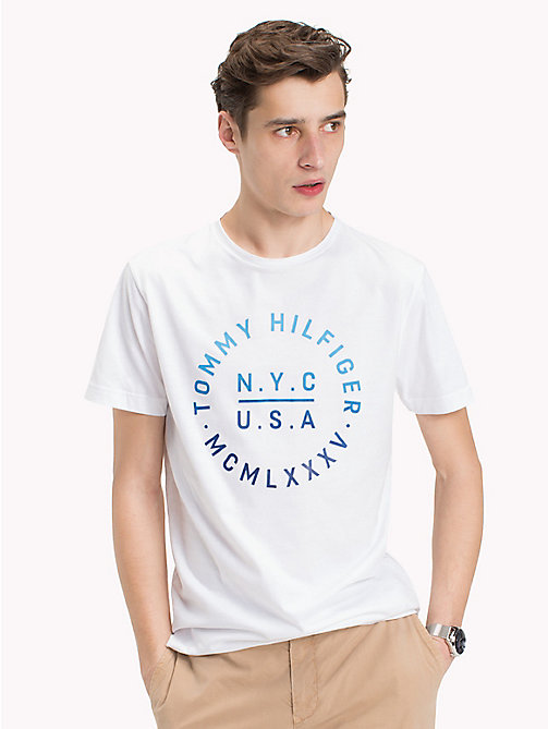 TOMMY HILFIGER Text Logo Regular Fit T-Shirt - BRIGHT WHITE - TOMMY HILFIGER Vacation Style - main image