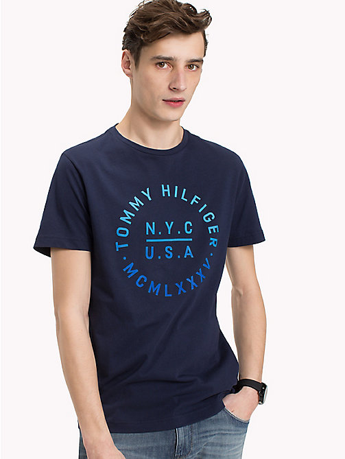 TOMMY HILFIGER Text Logo Regular Fit T-Shirt - MARITIME BLUE - TOMMY HILFIGER Vacation Style - main image