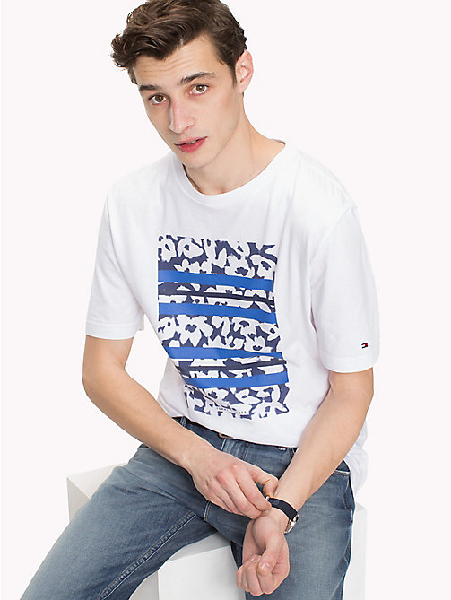 TOMMY HILFIGER Tropical Graphic Stripe Tee - BRIGHT WHITE - TOMMY HILFIGER Vacation Style - main image