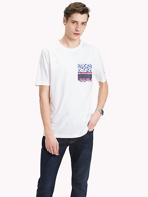 TOMMY HILFIGER Tropical Patch Pocket Tee - BRIGHT WHITE - TOMMY HILFIGER Vacation Style - main image