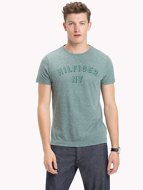 TOMMY HILFIGER NY Logo Heathered T-Shirt - FOREST BIOME HEATHER - TOMMY HILFIGER T-Shirts - main image