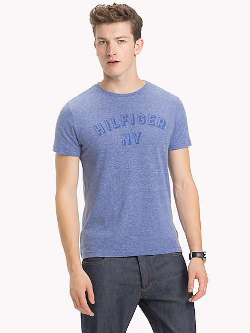 TOMMY HILFIGER NY Logo Heathered T-Shirt - MAZARINE BLUE HEATHER - TOMMY HILFIGER T-Shirts - main image