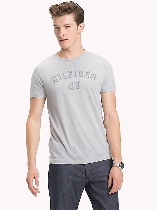 TOMMY HILFIGER NY Logo Heathered T-Shirt - CLOUD HTR - TOMMY HILFIGER T-Shirts - main image