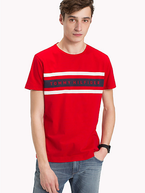 TOMMY HILFIGER Stripe Regular Fit Tee - GOJI BERRY -  NEW IN - main image