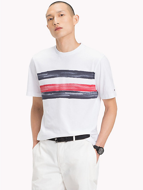 TOMMY HILFIGER Abstract Stripe Graphic Tee - BRIGHT WHITE - TOMMY HILFIGER Vacation Style - main image