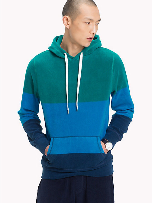 TOMMY HILFIGER Colour-Blocked Towelling Hoody - HAWAIIAN SURF / MULTI - TOMMY HILFIGER Vacation Style - main image