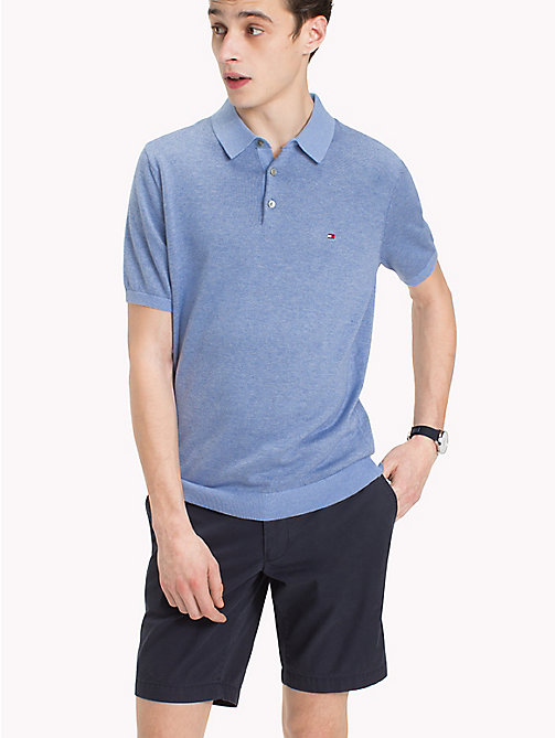 TOMMY HILFIGER Knitted Polo Shirt - BONNIE BLUE HEATHER - TOMMY HILFIGER Jumpers - main image