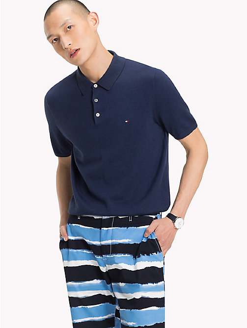 TOMMY HILFIGER Knitted Polo Shirt - MARITIME BLUE HEATHER - TOMMY HILFIGER Jumpers - main image
