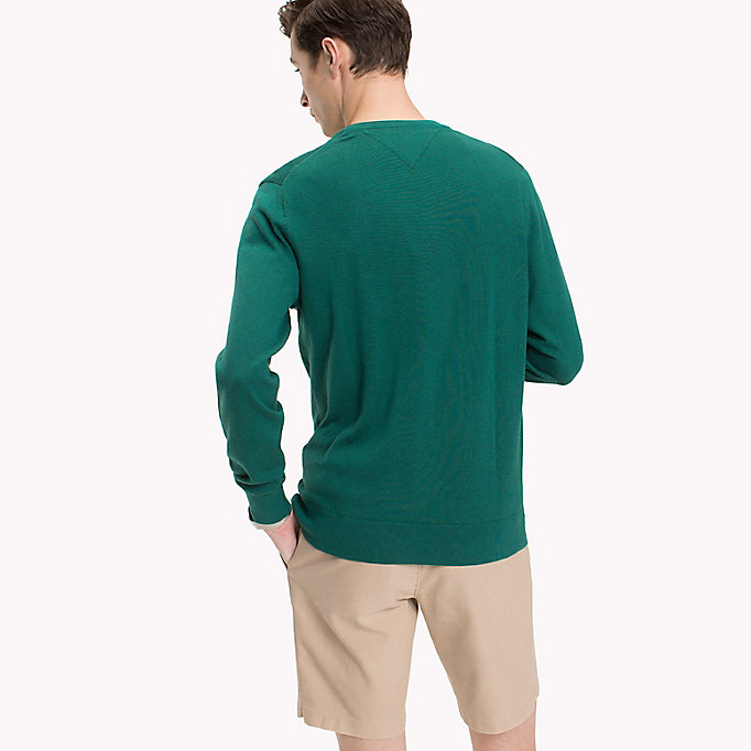 TOMMY HILFIGER Cotton Silk Crew Neck Jumper - ORCHID HTR - TOMMY HILFIGER Men - detail image 1
