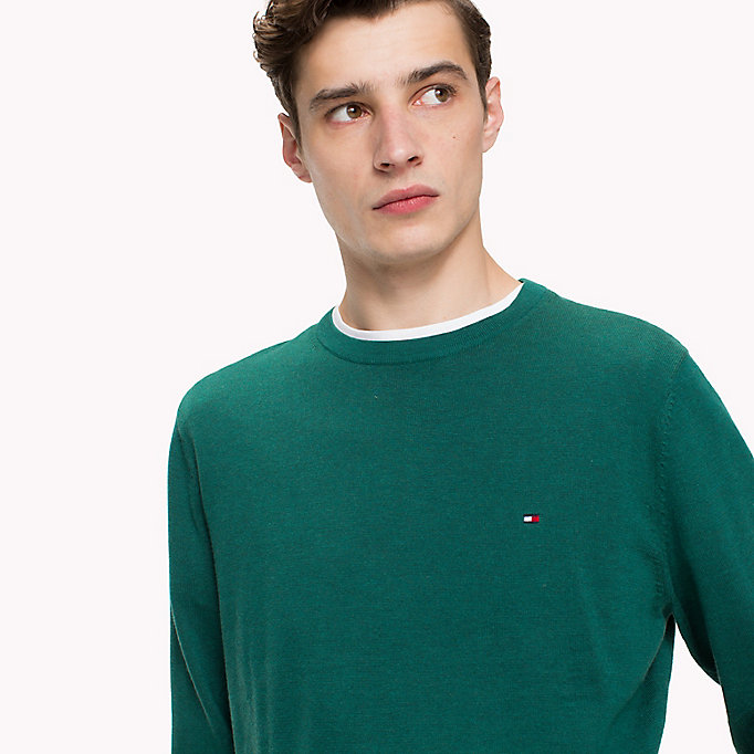 TOMMY HILFIGER Cotton Silk Crew Neck Jumper - ORCHID HTR - TOMMY HILFIGER Men - detail image 2