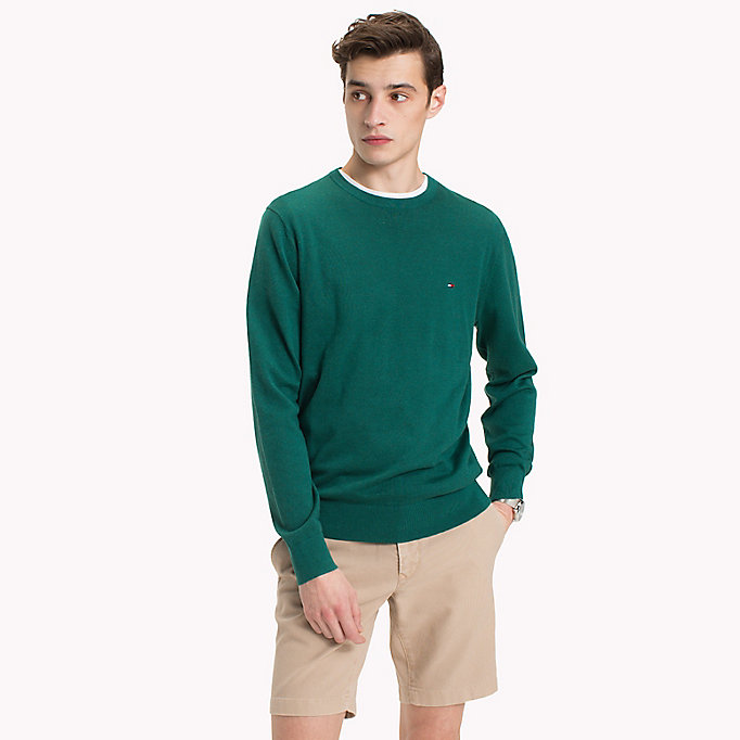 TOMMY HILFIGER Cotton Silk Crew Neck Jumper - ORCHID HTR - TOMMY HILFIGER Men - main image