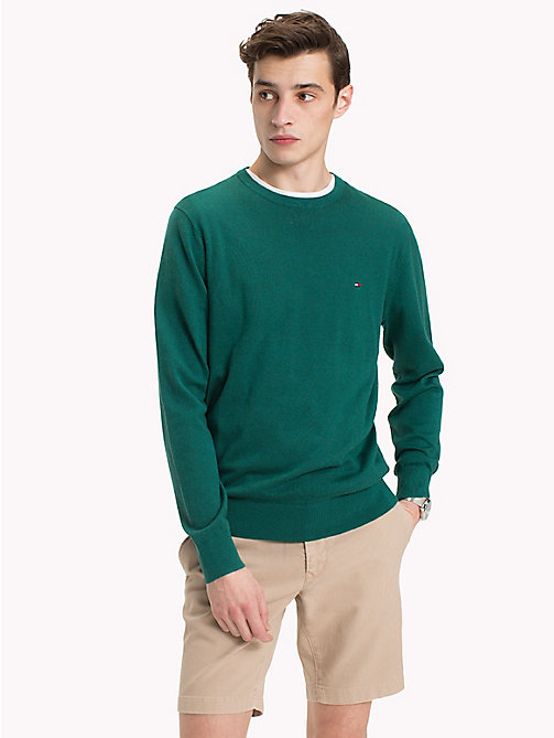 TOMMY HILFIGER Cotton Silk Crew Neck Jumper - FOREST BIOME HEATHER - TOMMY HILFIGER Clothing - main image