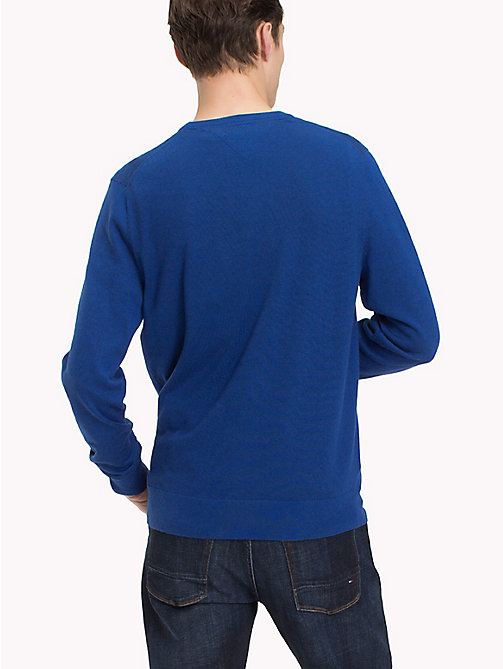 TOMMY HILFIGER Cotton Silk Crew Neck Jumper - MAZARINE BLUE HEATHER - TOMMY HILFIGER Clothing - detail image 1