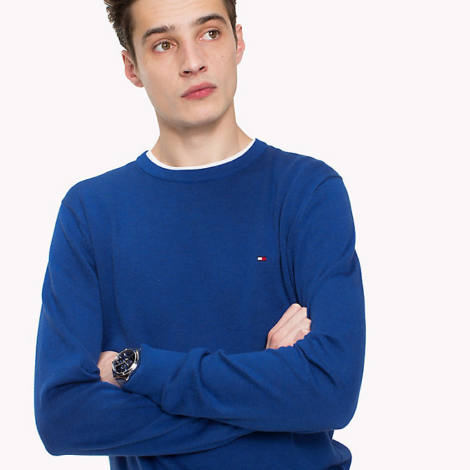 TOMMY HILFIGER Cotton Silk Crew Neck Jumper - FOREST BIOME HEATHER - TOMMY HILFIGER Men - detail image 2