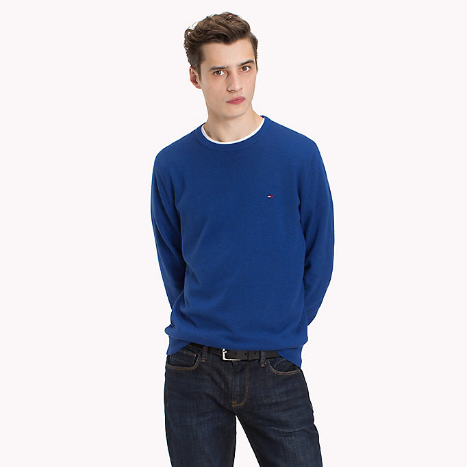 TOMMY HILFIGER Cotton Silk Crew Neck Jumper - FOREST BIOME HEATHER - TOMMY HILFIGER Men - main image