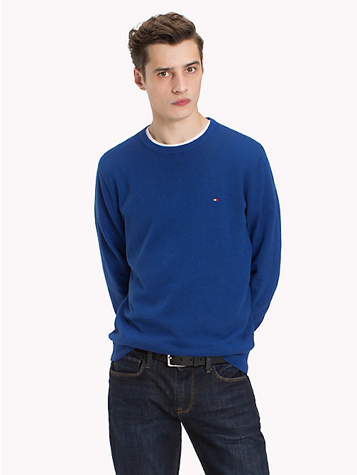 TOMMY HILFIGER Cotton Silk Crew Neck Jumper - MAZARINE BLUE HEATHER - TOMMY HILFIGER Clothing - main image
