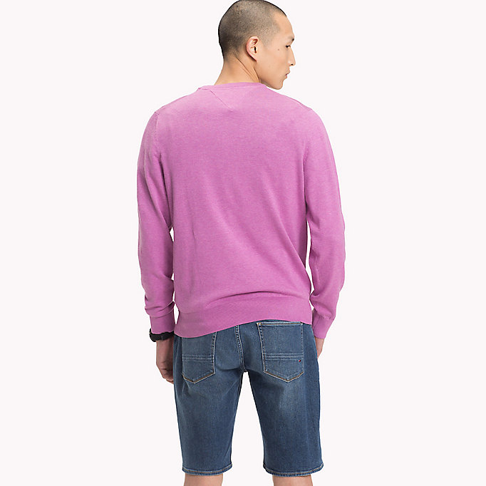 TOMMY HILFIGER Cotton Silk Crew Neck Jumper - FREESIA HTR - TOMMY HILFIGER Men - detail image 1
